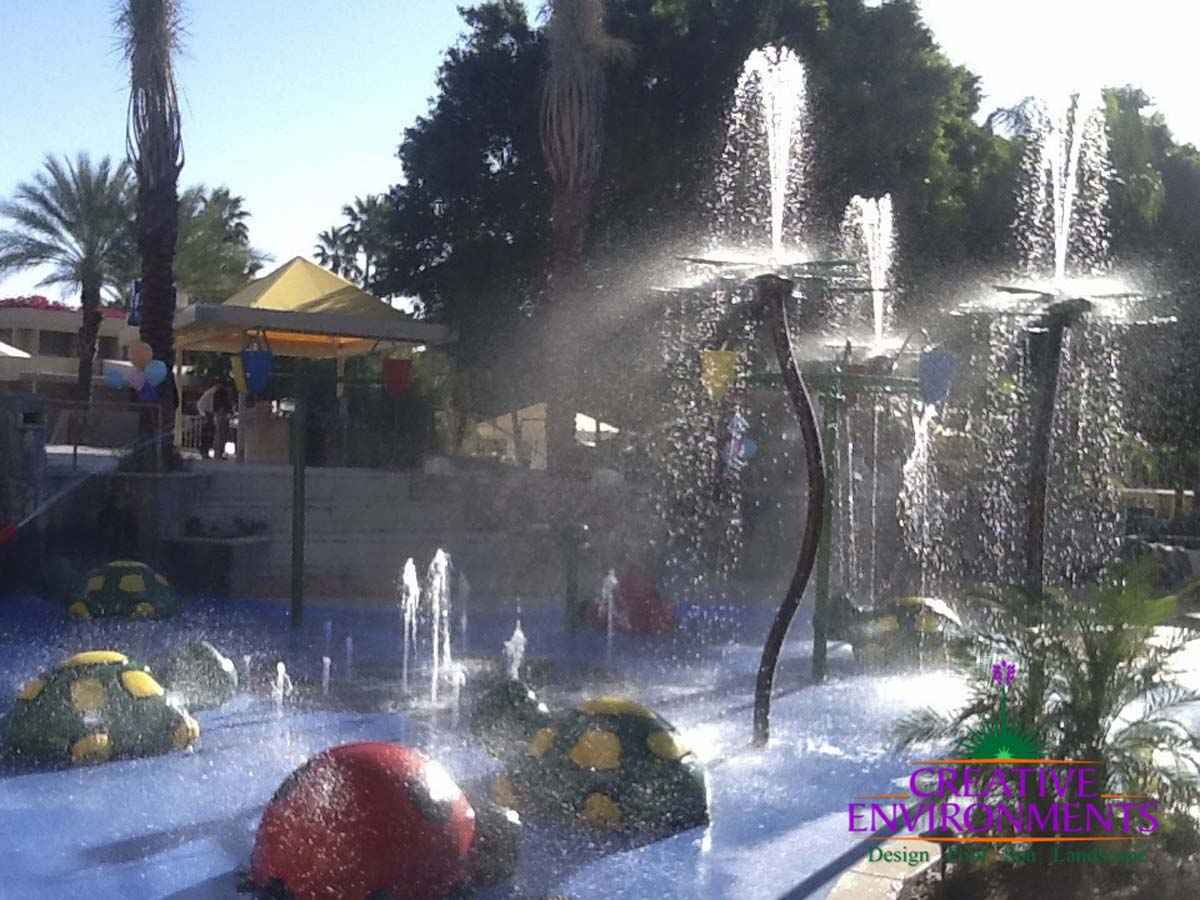 Childrens splash pad with water features